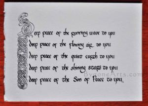 Deep Peace:  Irish Blessing in Celtic Calligraphy, unfinished